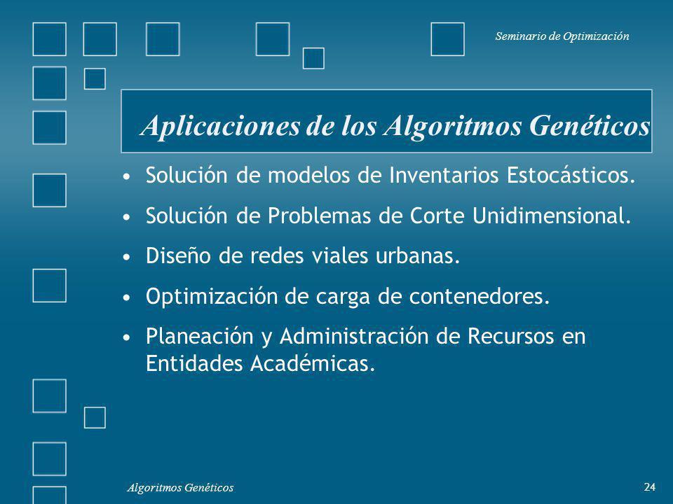 Aplicaciones de los Algoritmos Genéticos Seminario de Optimización 24 Algoritmos Genéticos Solución de modelos de Inventarios Estocásticos.