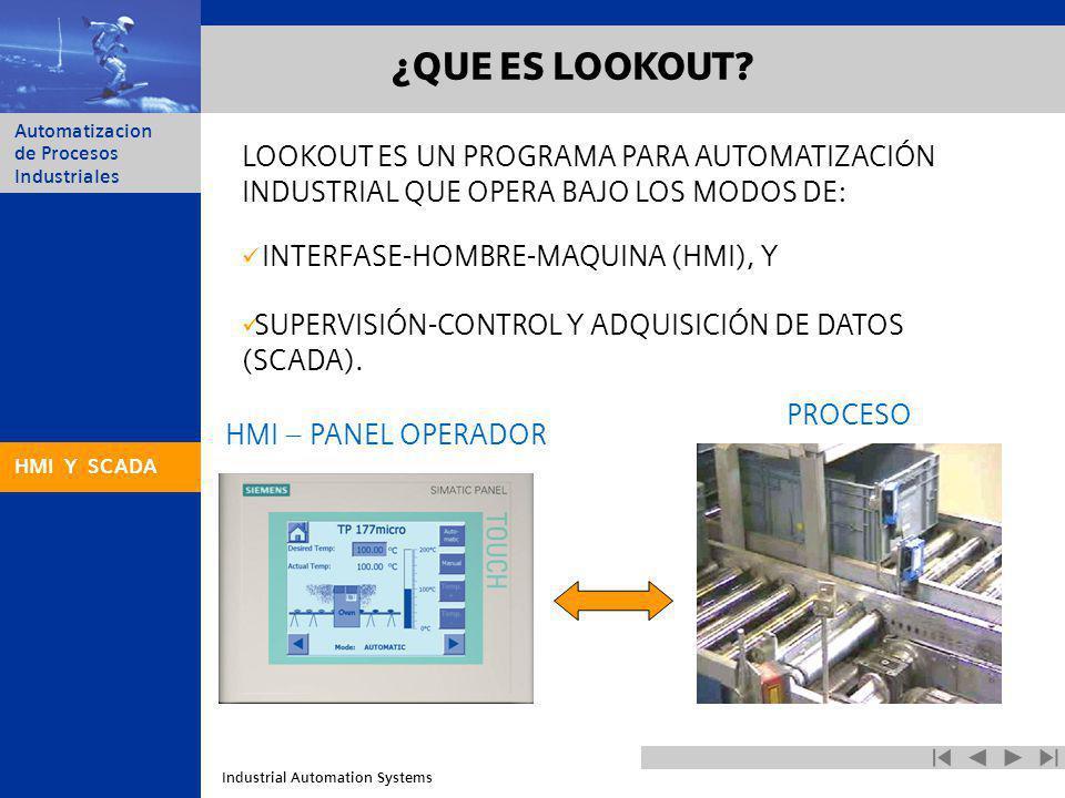 Industrial Automation Systems Automatizacion de Procesos Industriales ¿QUE ES LOOKOUT? HMI – PANEL OPERADOR PROCESO HMI Y SCADA LOOKOUT ES UN PROGRAMA