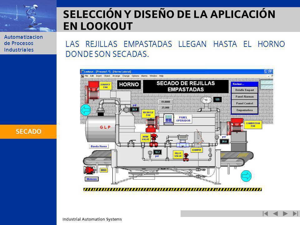 Industrial Automation Systems Automatizacion de Procesos Industriales SELECCIÓN Y DISEÑO DE LA APLICACIÓN EN LOOKOUT LAS REJILLAS EMPASTADAS LLEGAN HA