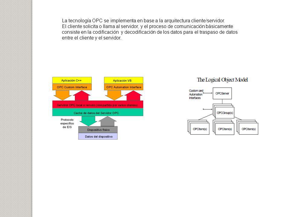 La tecnología OPC se implementa en base a la arquitectura cliente/servidor. El cliente solicita o llama al servidor, y el proceso de comunicación bási