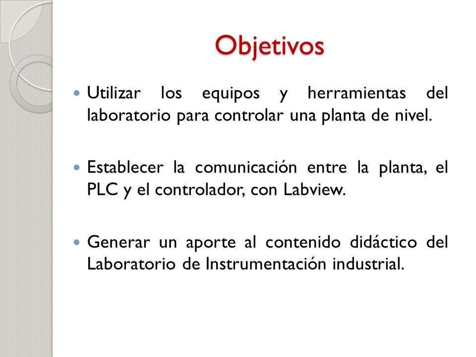 Objetivos Utilizar los equipos y herramientas del laboratorio para controlar una planta de nivel. Establecer la comunicación entre la planta, el PLC y