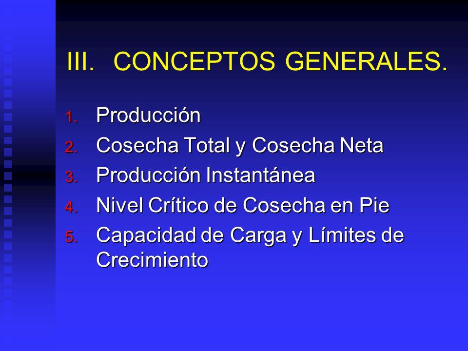 III.CONCEPTOS GENERALES.1. Producción 2. Cosecha Total y Cosecha Neta 3.