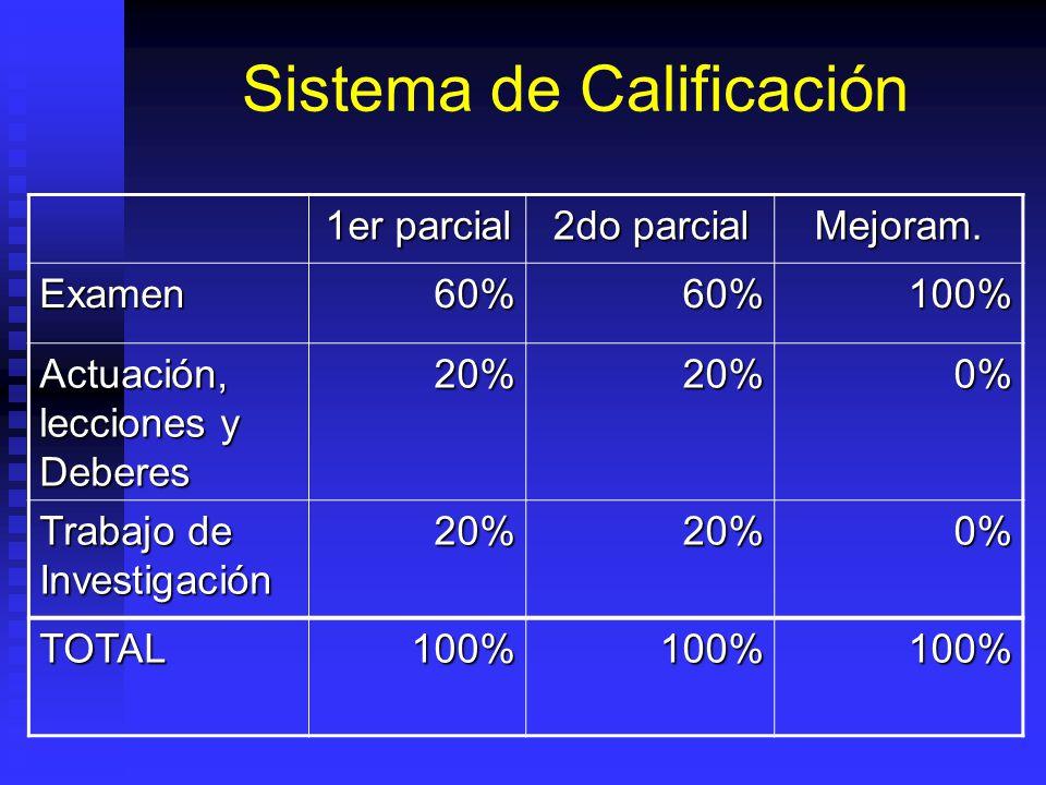 Sistema de Calificación 1er parcial 2do parcial Mejoram.