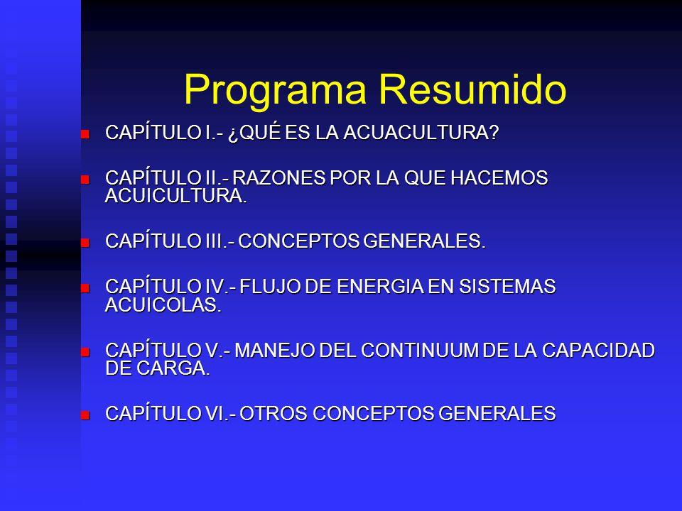 Programa Resumido CAPÍTULO I.- ¿QUÉ ES LA ACUACULTURA.