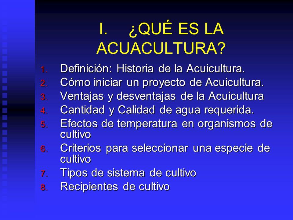 I.¿QUÉ ES LA ACUACULTURA.1. Definición: Historia de la Acuicultura.