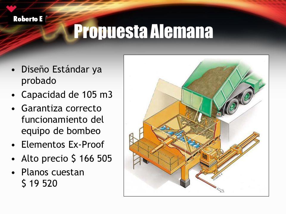 Propuesta Alemana Diseño Estándar ya probado Capacidad de 105 m3 Garantiza correcto funcionamiento del equipo de bombeo Elementos Ex-Proof Alto precio