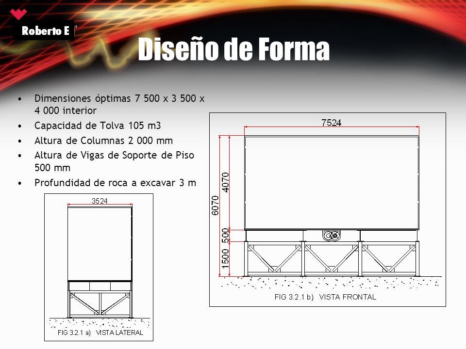 Diseño de Forma Dimensiones óptimas 7 500 x 3 500 x 4 000 interior Capacidad de Tolva 105 m3 Altura de Columnas 2 000 mm Altura de Vigas de Soporte de