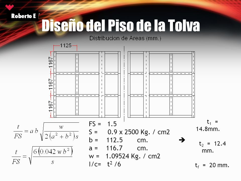 Diseño del Piso de la Tolva Roberto E FS = 1.5 S = 0.9 x 2500 Kg. / cm2 b = 112.5cm. a = 116.7cm. w = 1.09524 Kg. / cm2 I/c= t 2 /6 t 1 = 14.8mm. t 2