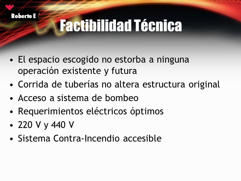 Factibilidad Técnica El espacio escogido no estorba a ninguna operación existente y futura Corrida de tuberías no altera estructura original Acceso a