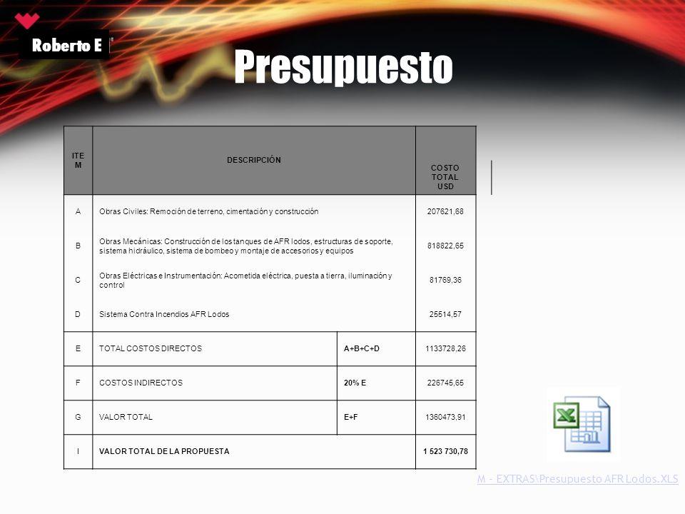 Presupuesto Roberto E ITE M DESCRIPCIÓN COSTO TOTAL USD AObras Civiles: Remoción de terreno, cimentación y construcción207621,68 B Obras Mecánicas: Co
