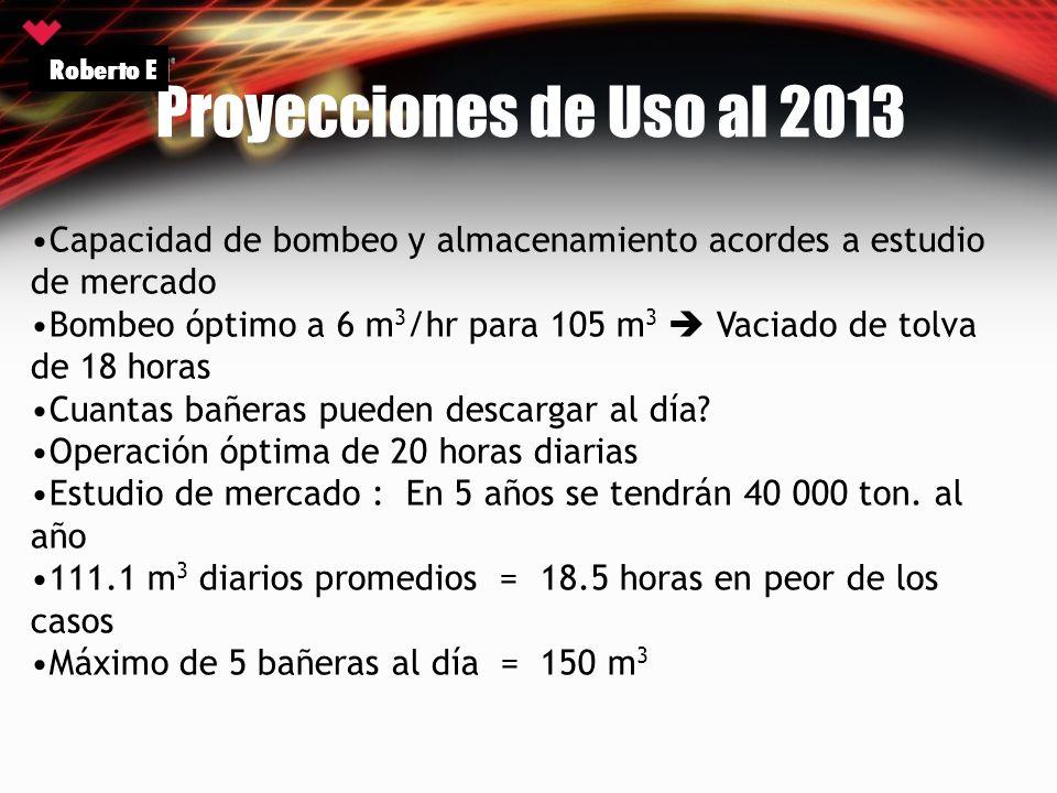 Proyecciones de Uso al 2013 Roberto E Capacidad de bombeo y almacenamiento acordes a estudio de mercado Bombeo óptimo a 6 m 3 /hr para 105 m 3 Vaciado