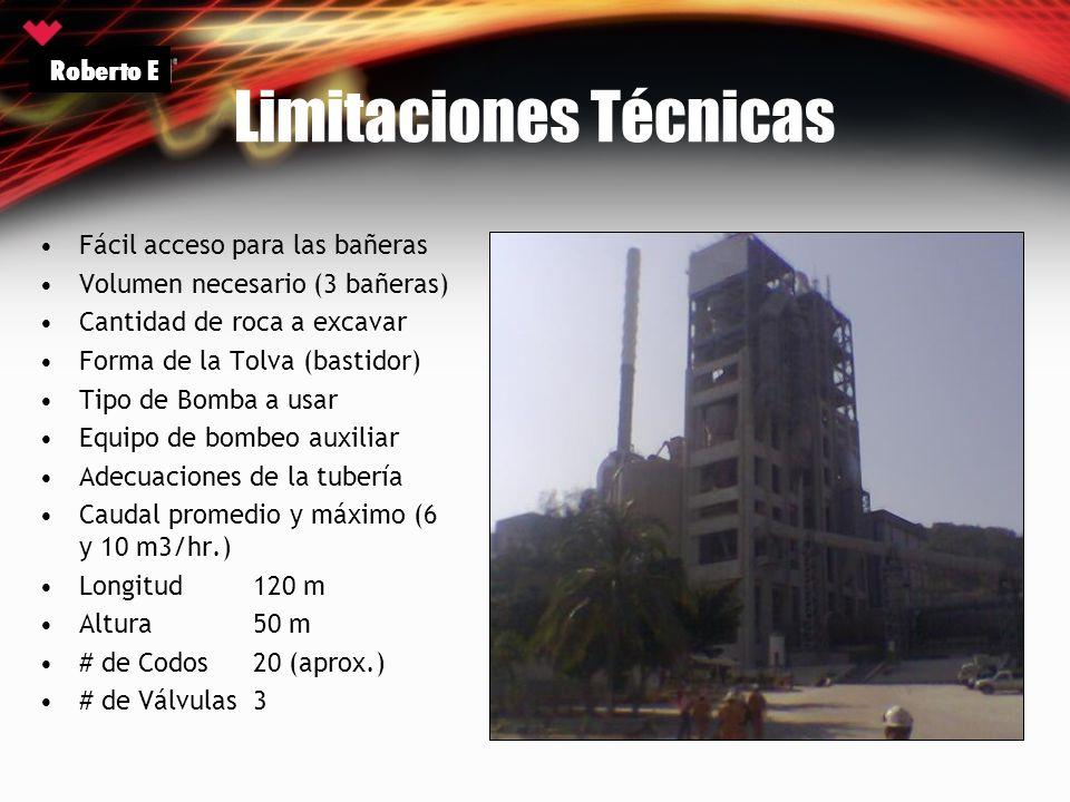 Limitaciones Técnicas Fácil acceso para las bañeras Volumen necesario (3 bañeras) Cantidad de roca a excavar Forma de la Tolva (bastidor) Tipo de Bomb