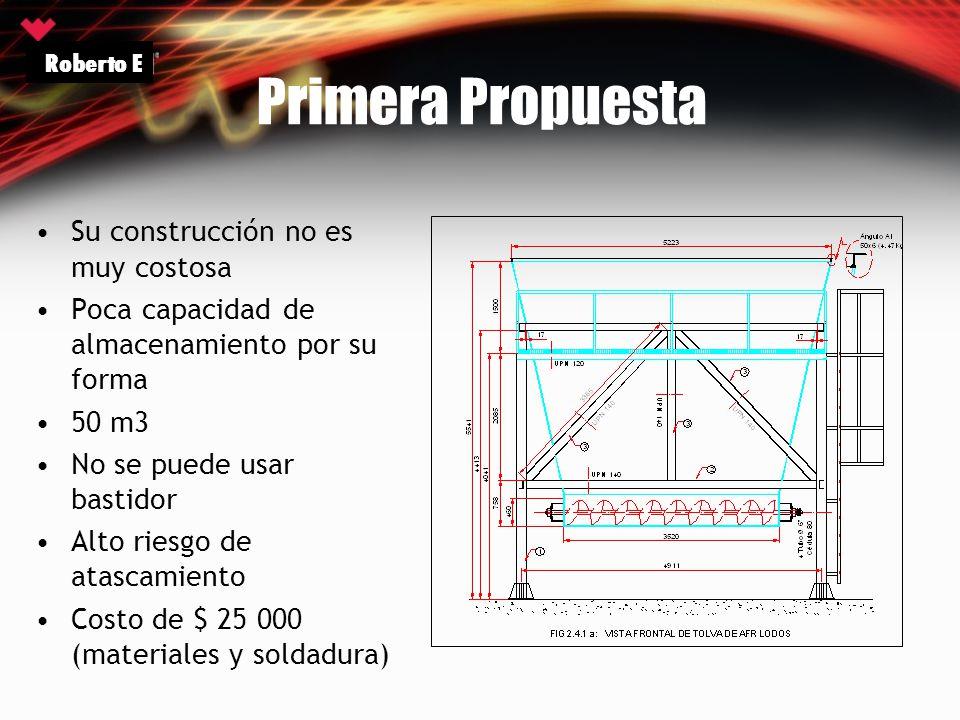 Primera Propuesta Su construcción no es muy costosa Poca capacidad de almacenamiento por su forma 50 m3 No se puede usar bastidor Alto riesgo de atasc