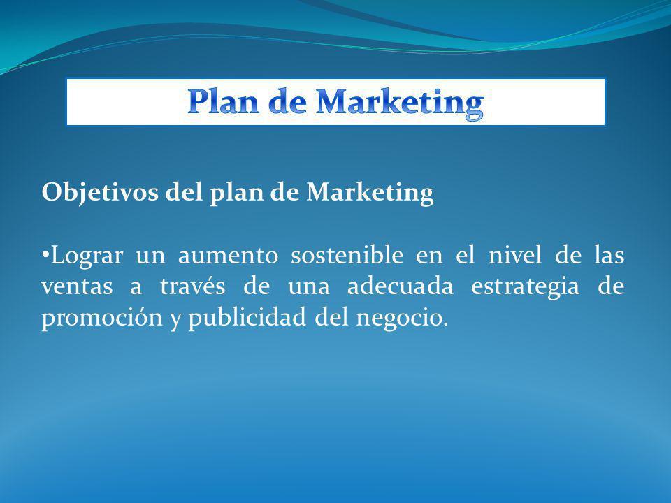 Objetivos del plan de Marketing Lograr un aumento sostenible en el nivel de las ventas a través de una adecuada estrategia de promoción y publicidad d