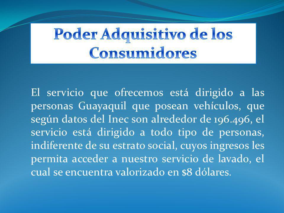 El servicio que ofrecemos está dirigido a las personas Guayaquil que posean vehículos, que según datos del Inec son alrededor de 196.496, el servicio