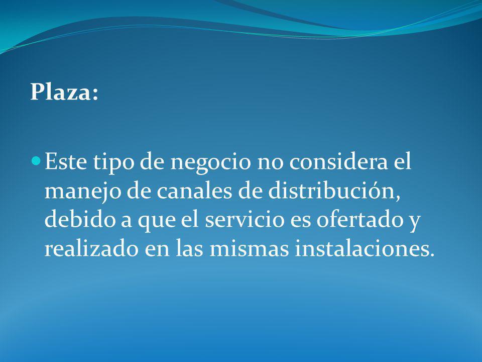 Plaza: Este tipo de negocio no considera el manejo de canales de distribución, debido a que el servicio es ofertado y realizado en las mismas instalac