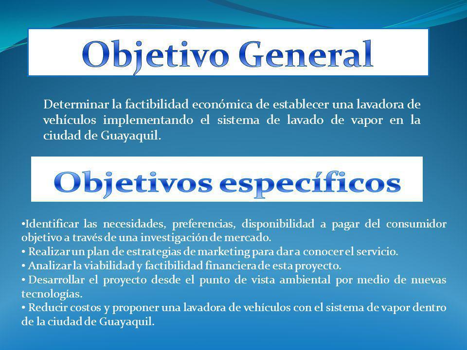 Determinar la factibilidad económica de establecer una lavadora de vehículos implementando el sistema de lavado de vapor en la ciudad de Guayaquil. Id