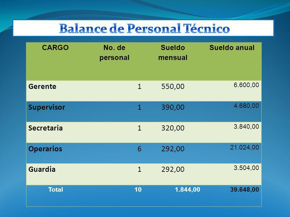 CARGO No. de personal Sueldo mensual Sueldo anual Gerente1550,00 6.600,00 Supervisor1390,00 4.680,00 Secretaria1320,00 3.840,00 Operarios6292,00 21.02