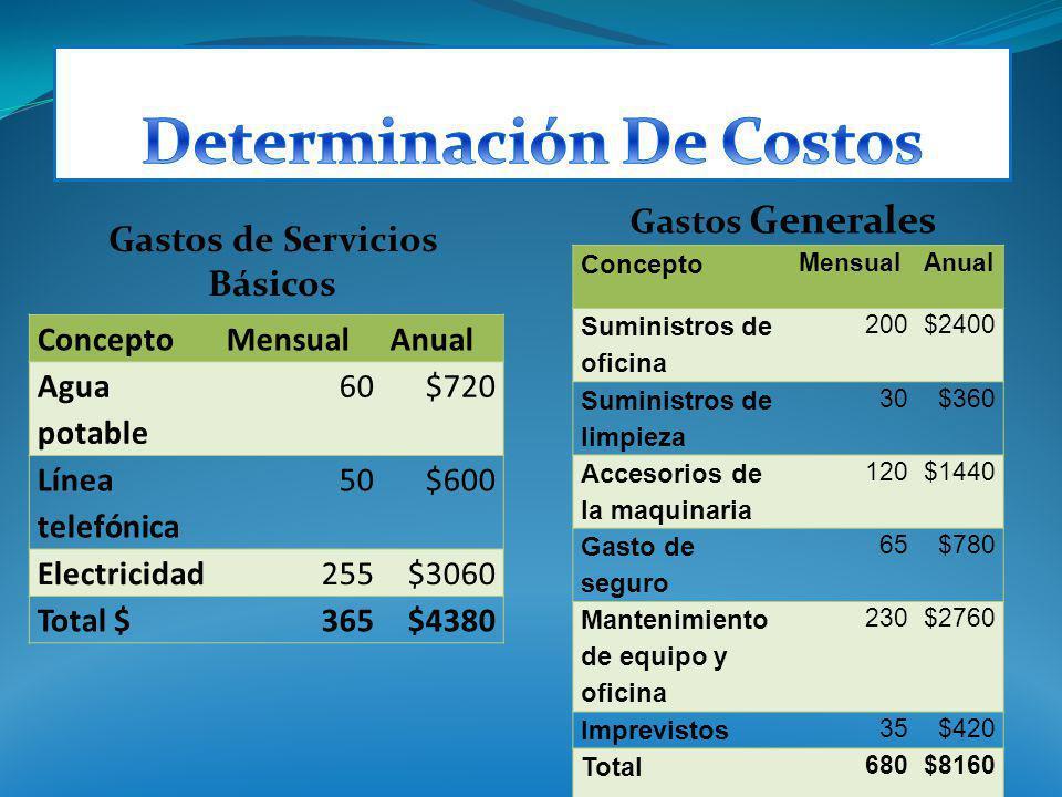 Gastos de Servicios Básicos Gastos Generales ConceptoMensualAnual Agua potable 60$720 Línea telefónica 50$600 Electricidad255$3060 Total $365$4380 Con