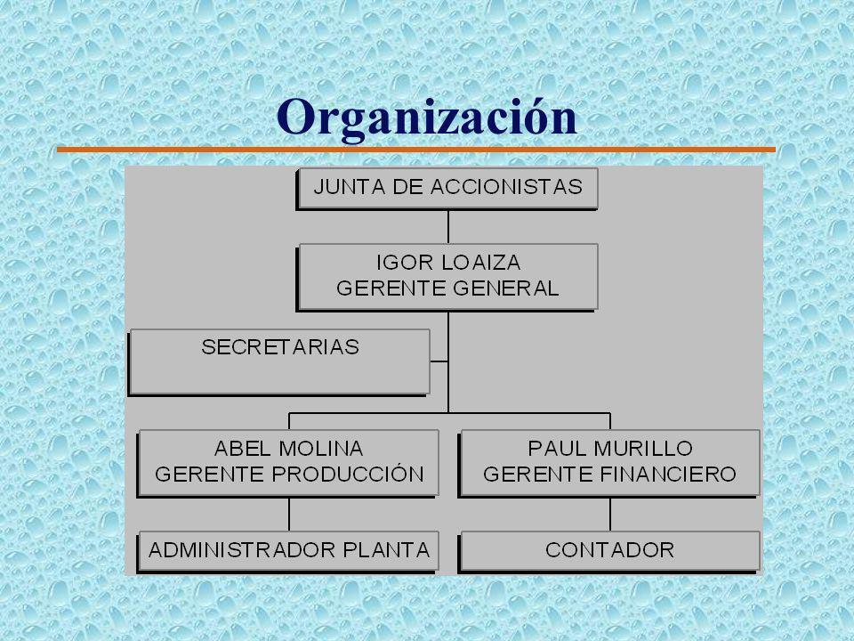 Organización 4 La compañía se constituirá al régimen de Sociedad anónima, la misma que está compuesta por tres socios fundadores, los que buscan inver