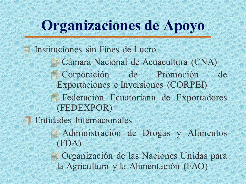 Organizaciones de Apoyo Entidades P ú blicas Ministerio de Agricultura y Ganader í a (MAG) Ministerio de Comercio Exterior, Industrializaci ó n, Pesca