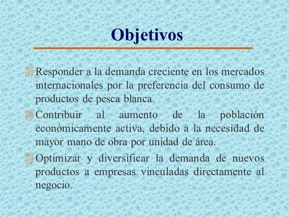 Objetivos 4Responder a la demanda creciente en los mercados internacionales por la preferencia del consumo de productos de pesca blanca.