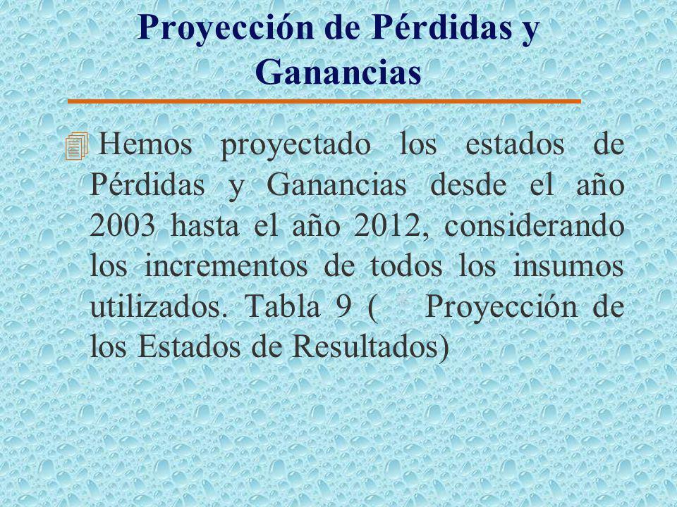 Proyección de los Flujos de Caja 4 Hemos proyectado los flujos de Caja desde el año 2003 hasta el año 2012, considerando los incrementos de todos los