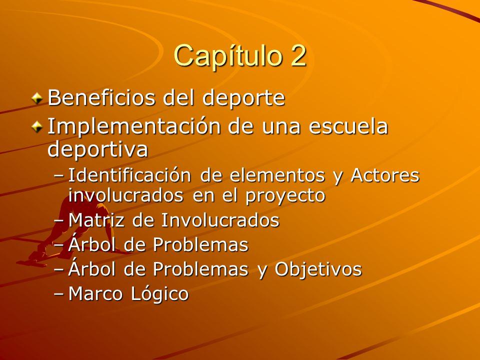 Capítulo 2 Beneficios del deporte Implementación de una escuela deportiva –I–I–I–Identificación de elementos y Actores involucrados en el proyecto –M–M–M–Matriz de Involucrados –Á–Á–Á–Árbol de Problemas –Á–Á–Á–Árbol de Problemas y Objetivos –M–M–M–Marco Lógico