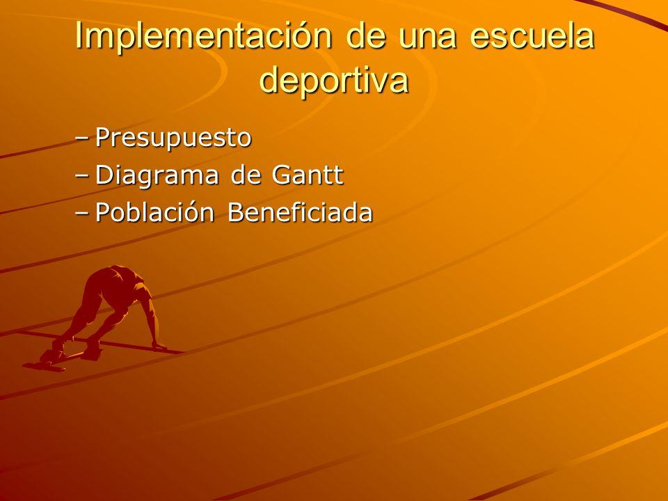 Implementación de una escuela deportiva –Presupuesto –Diagrama de Gantt –Población Beneficiada