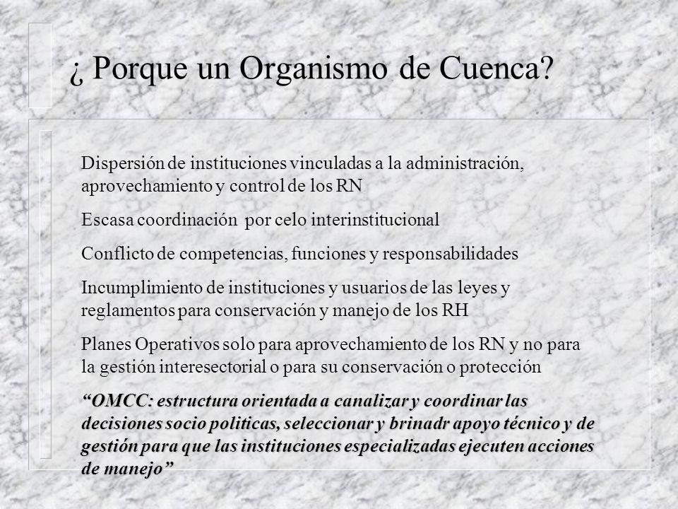 GESTION DEL RECURSO O.M.C.C. Manejo sustentable del recurso (cantidad y calidad) Mejora el nivel de vida de la gente Financiamiento: n Multas por cont