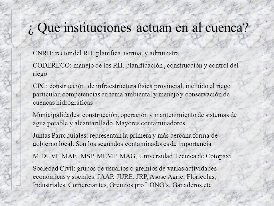 ¿ Porque un Organismo de Cuenca? Dispersión de instituciones vinculadas a la administración, aprovechamiento y control de los RN Escasa coordinación p