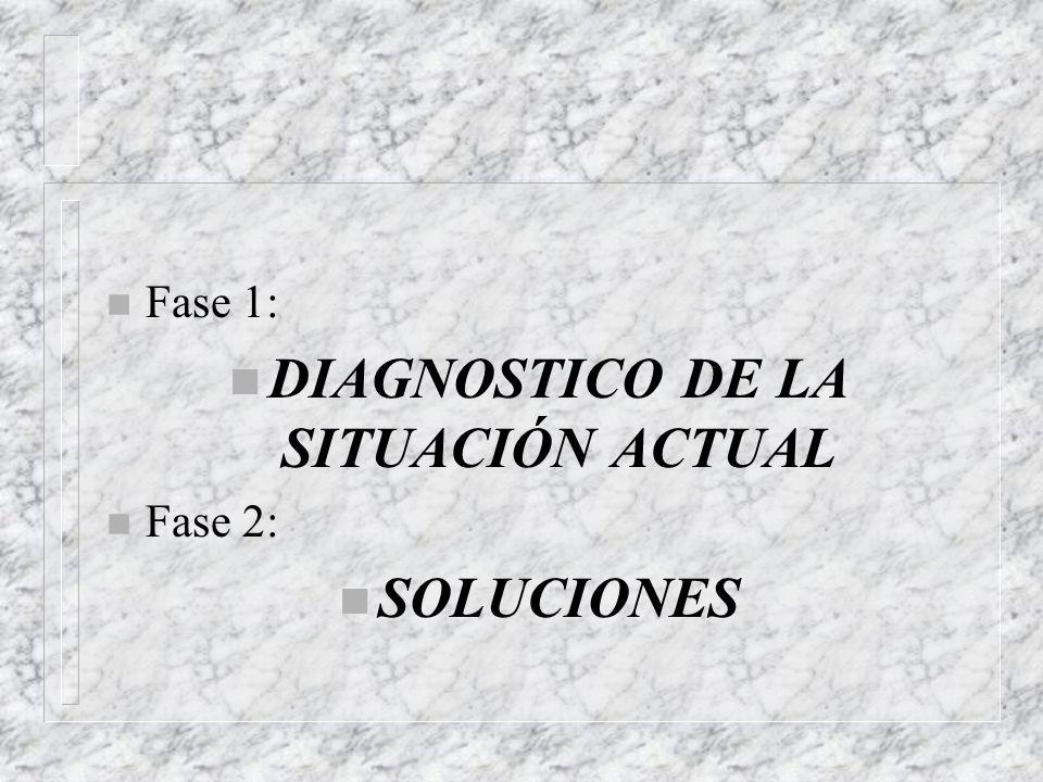 n Fase 1: n DIAGNOSTICO DE LA SITUACIÓN ACTUAL n Fase 2: n SOLUCIONES