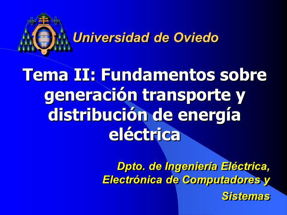 Tema II: Fundamentos sobre generación transporte y distribución de energía eléctrica Universidad de Oviedo Dpto. de Ingeniería Eléctrica, Electrónica