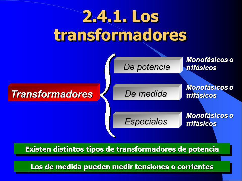 2.4.1. Los transformadores Transformadores De potencia De medida Especiales Monofásicos o trifásicos Existen distintos tipos de transformadores de pot