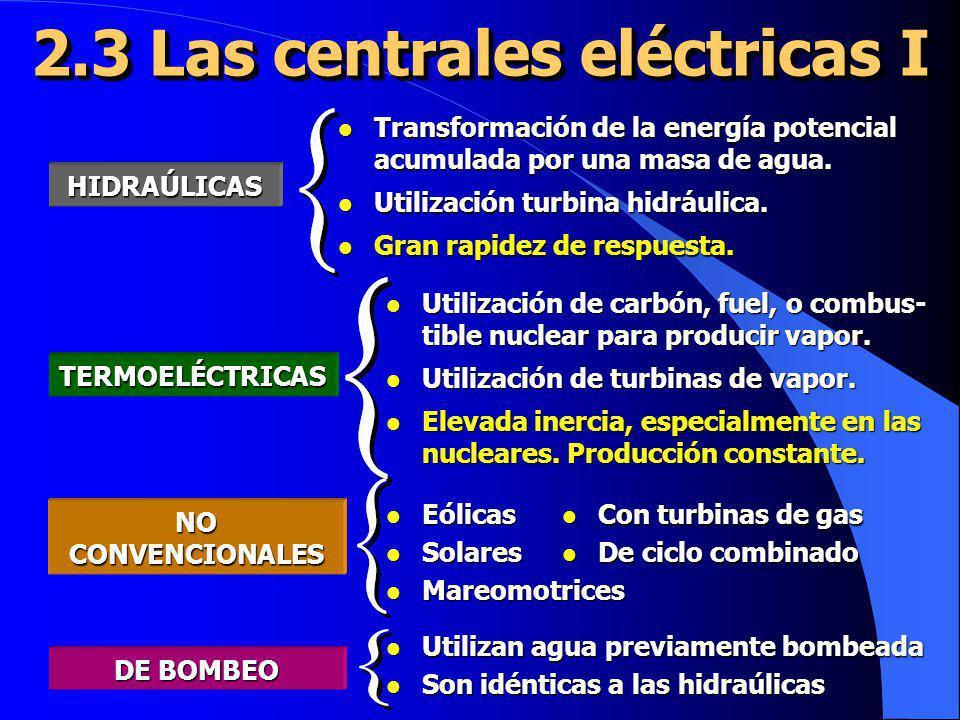 2.3 Las centrales eléctricas I HIDRAÚLICAS l Transformación de la energía potencial acumulada por una masa de agua. l Utilización turbina hidráulica.