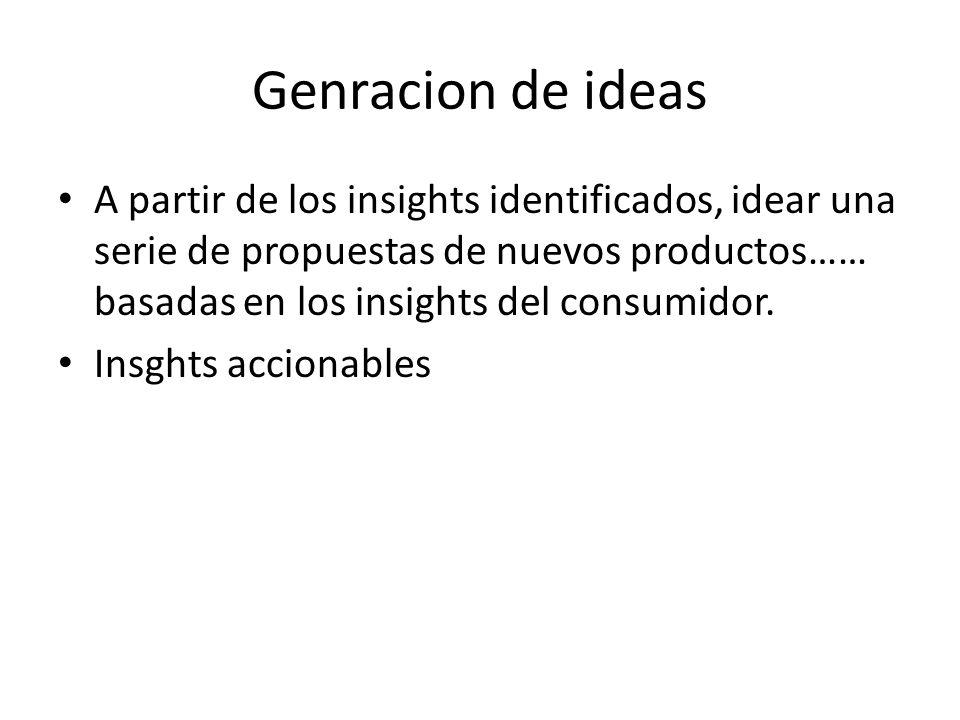 Genracion de ideas A partir de los insights identificados, idear una serie de propuestas de nuevos productos…… basadas en los insights del consumidor.