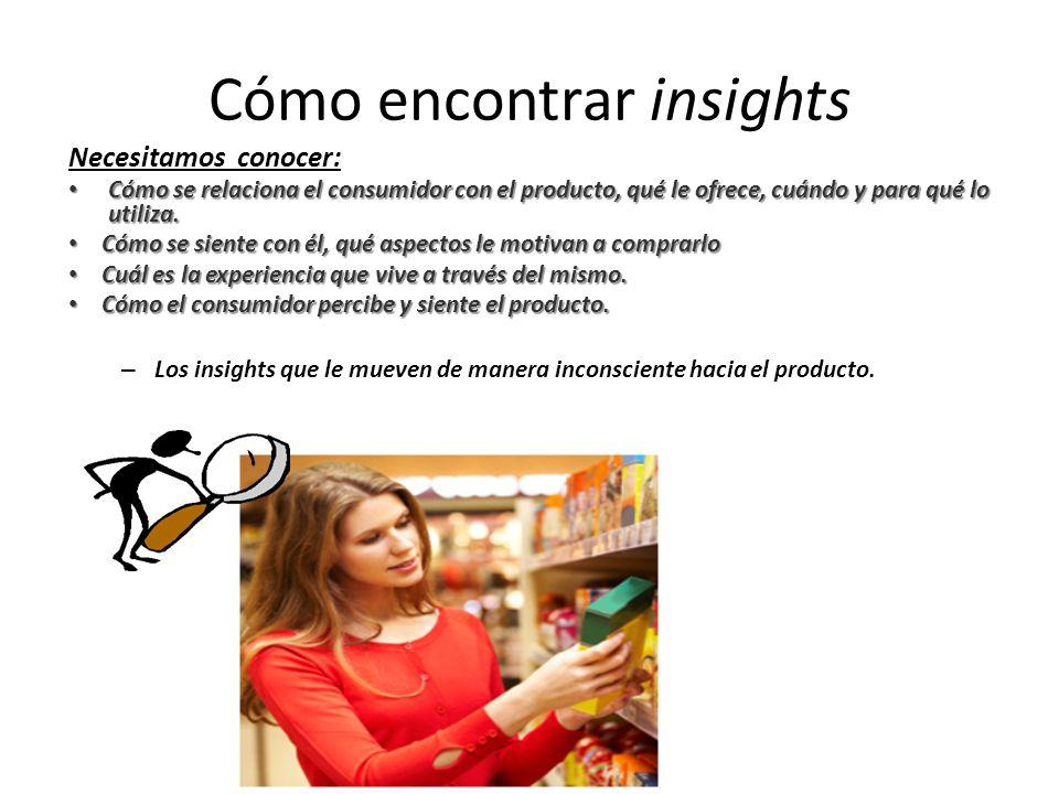 Cómo encontrar insights Necesitamos conocer: Cómo se relaciona el consumidor con el producto, qué le ofrece, cuándo y para qué lo utiliza. Cómo se rel
