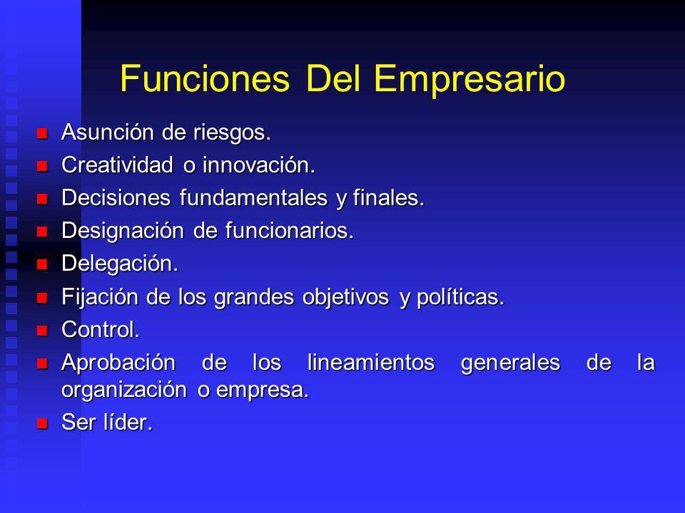 Funciones Del Empresario Asunción de riesgos. Asunción de riesgos. Creatividad o innovación. Creatividad o innovación. Decisiones fundamentales y fina
