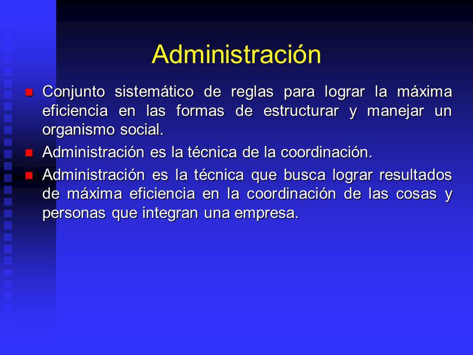 Administración Conjunto sistemático de reglas para lograr la máxima eficiencia en las formas de estructurar y manejar un organismo social. Conjunto si