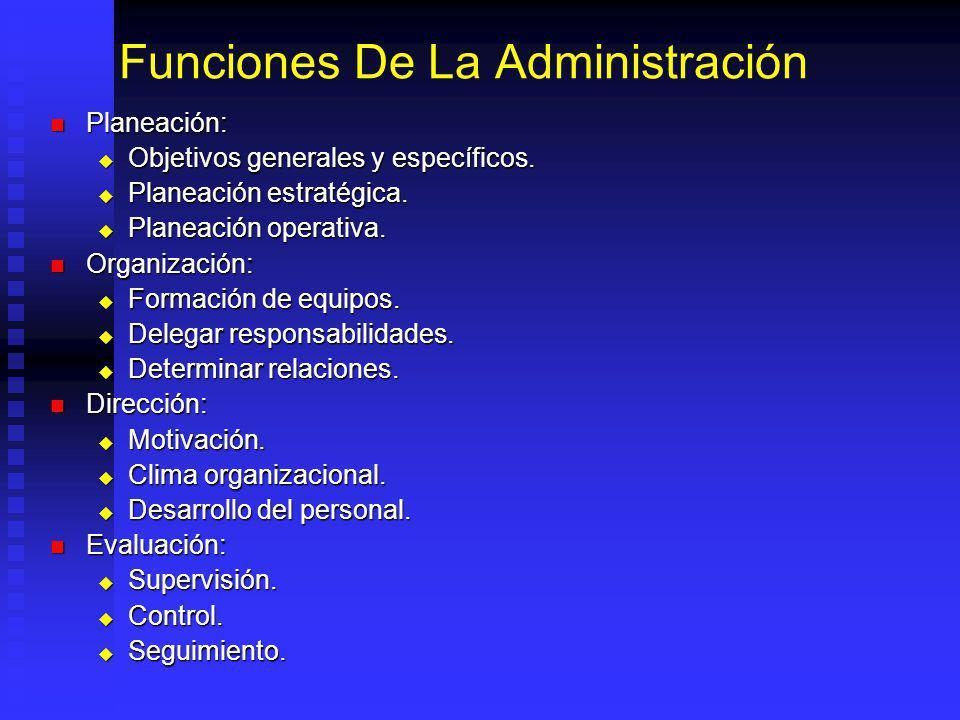 Funciones De La Administración Planeación: Planeación: Objetivos generales y específicos. Objetivos generales y específicos. Planeación estratégica. P