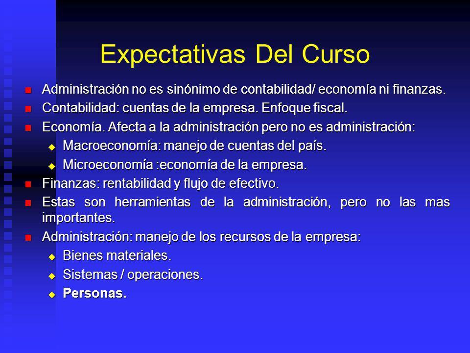 Expectativas Del Curso Administración no es sinónimo de contabilidad/ economía ni finanzas. Administración no es sinónimo de contabilidad/ economía ni