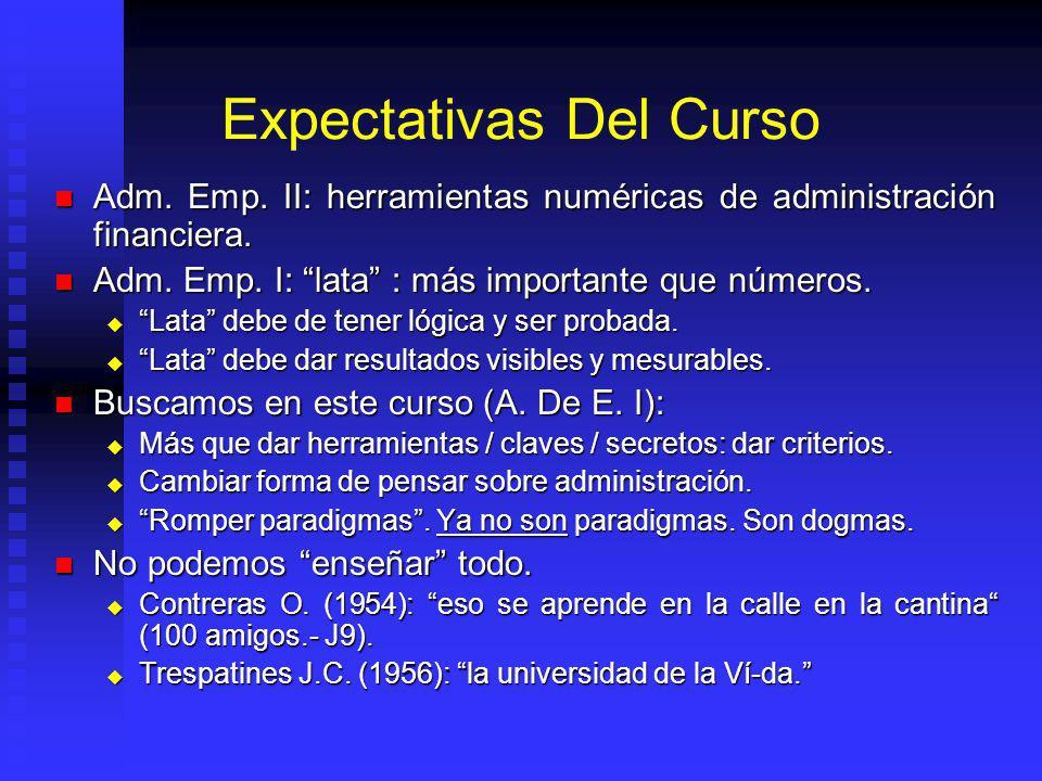 Expectativas Del Curso Adm. Emp. II: herramientas numéricas de administración financiera. Adm. Emp. II: herramientas numéricas de administración finan