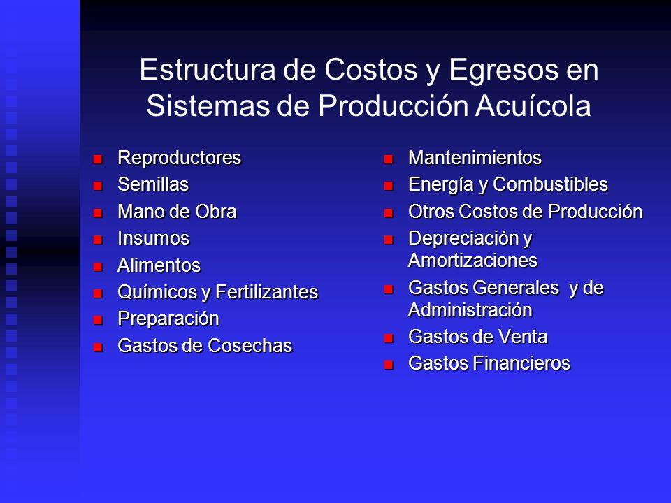 Estructura de Costos y Egresos en Sistemas de Producción Acuícola Método a usar: basado en ingresos y egresos de efectivo, no en costos de producción ni en costos de ventas.