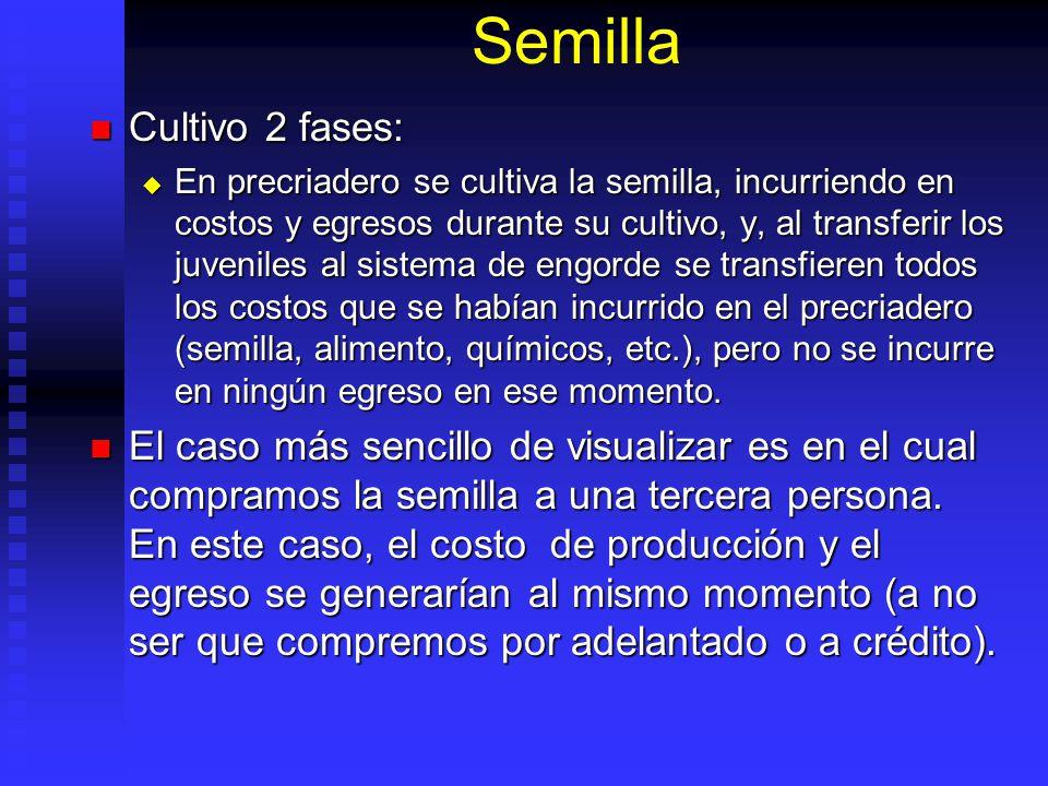Semilla Es base de sistema producción acuícola.Puede ser capturada, producida o comprada.