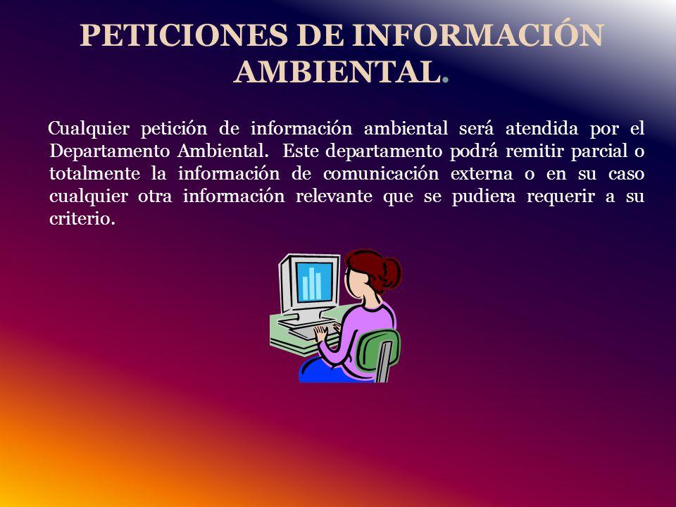 PETICIONES DE INFORMACIÓN AMBIENTAL.
