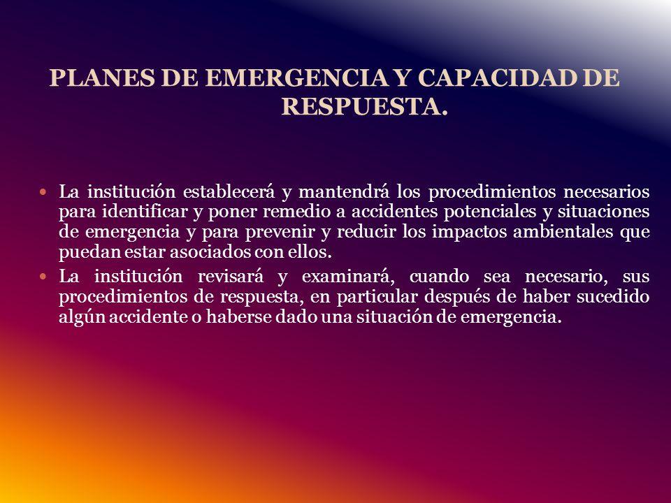 PLANES DE EMERGENCIA Y CAPACIDAD DE RESPUESTA.