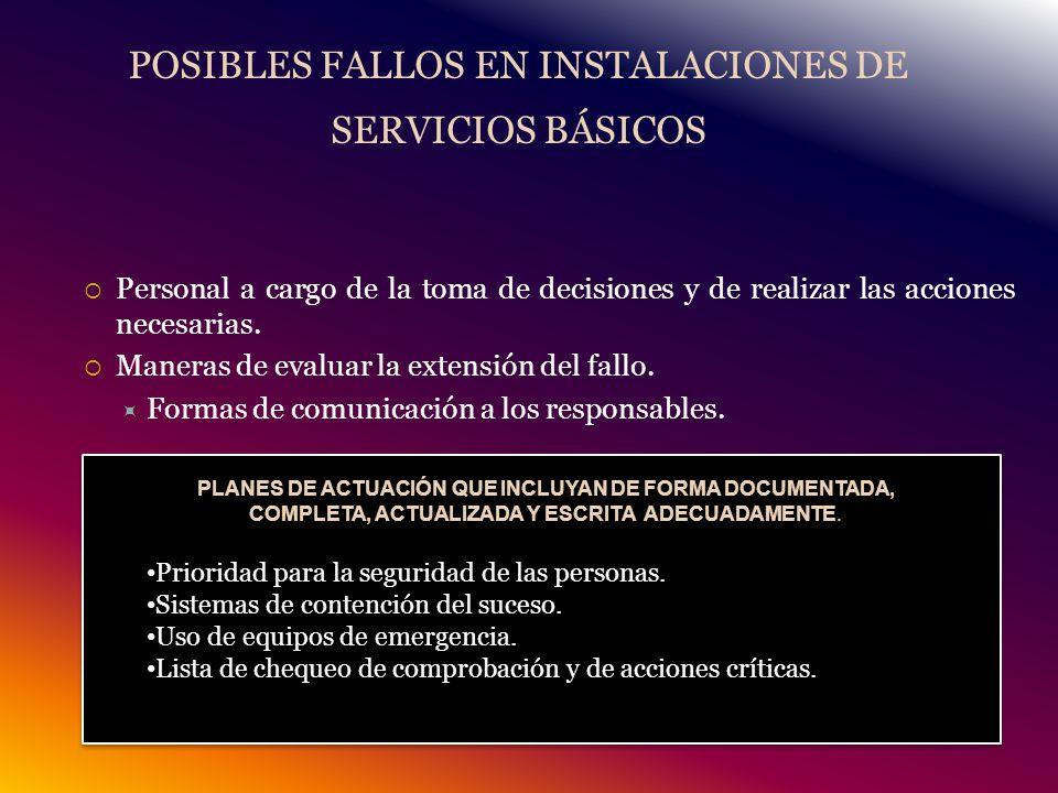 POSIBLES FALLOS EN INSTALACIONES DE SERVICIOS BÁSICOS Personal a cargo de la toma de decisiones y de realizar las acciones necesarias.