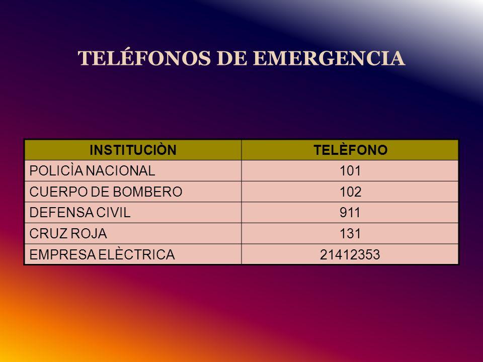 TELÉFONOS DE EMERGENCIA INSTITUCIÒNTELÈFONO POLICÌA NACIONAL101 CUERPO DE BOMBERO102 DEFENSA CIVIL911 CRUZ ROJA131 EMPRESA ELÈCTRICA21412353