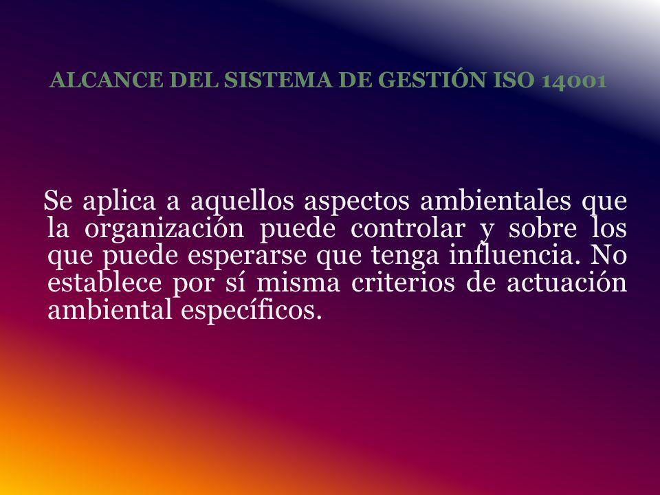 ALCANCE DEL SISTEMA DE GESTIÓN ISO 14001 Se aplica a aquellos aspectos ambientales que la organización puede controlar y sobre los que puede esperarse que tenga influencia.