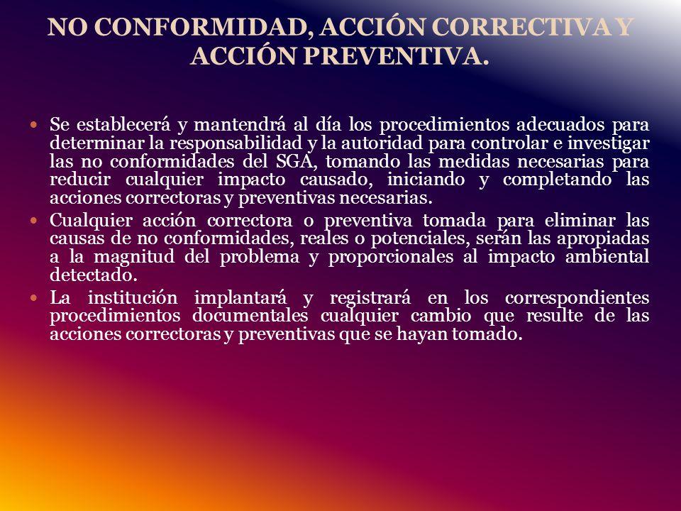 NO CONFORMIDAD, ACCIÓN CORRECTIVA Y ACCIÓN PREVENTIVA.